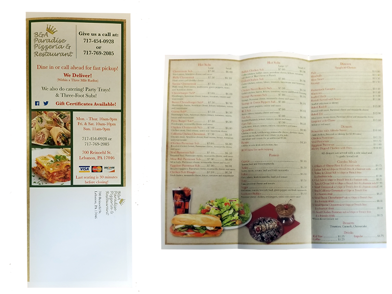 Colortech, Inc printed EDDM project for a local restaurant in Lebanon, PA.