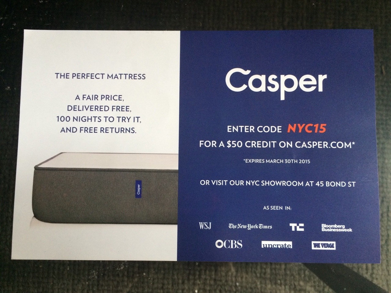 Casper Matress, a digital brand, uses geographical location to create different content using variable data printing.